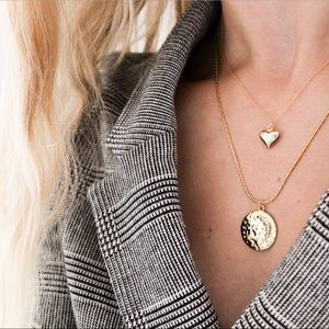 24k Gold Plated Charm Layering Coin Necklacr